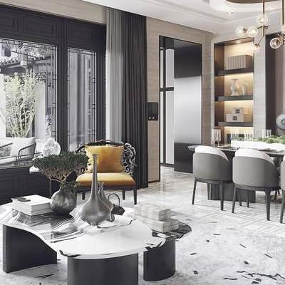 新中式客厅, 茶几, 椅子, 桌子, 置物柜, 吊灯, 多人沙发, 台灯, 新中式