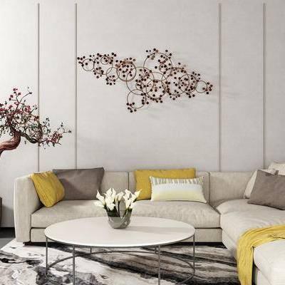 沙发组合, 多人沙发, 茶几, 壁画, 盆栽, 现代