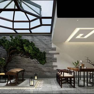 新中式书房, 桌子, 椅子, 盆栽, 置物架, 落地灯, 新中式