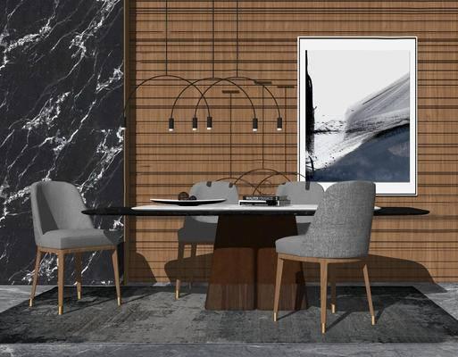桌椅组合, 现代, 餐桌, 吊灯, 挂画, 椅子