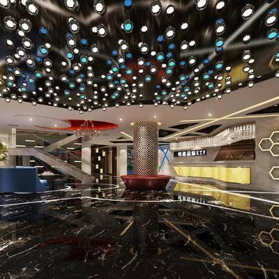 走廊过道, 吊灯, 多人沙发, 楼梯, 现代