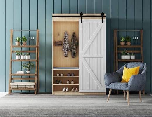 衣柜, 椅子, 置物架, 北欧