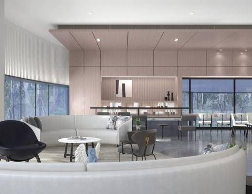 洽谈区, 多人沙发, 茶几, 吧椅, 吧台, 现代