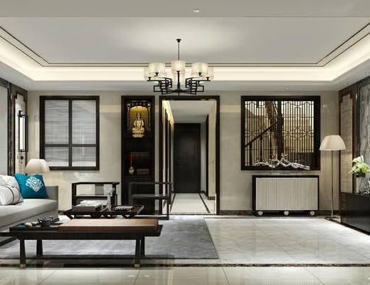 新中式客厅, 多人沙发, 台灯, 壁画, 落地灯, 边柜, 吊灯, 电视柜, 壁灯, 椅子, 新中式