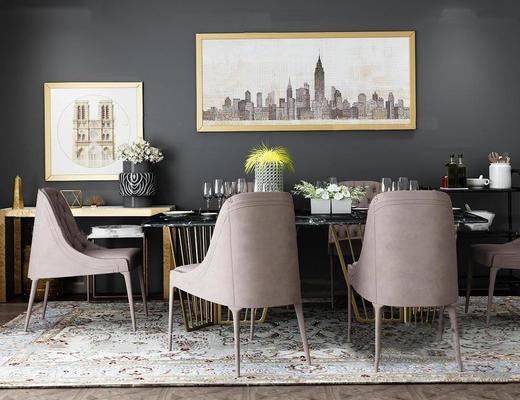 美式, 现代简约, 餐桌椅组合, 陈设品组合
