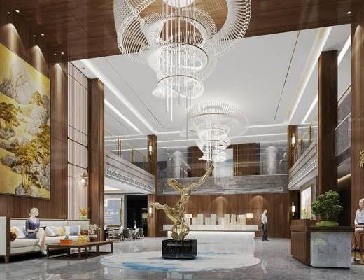 新中式, 大堂, 桌子, 椅子, 吊灯, 沙发, 前台, 装饰画, 1000套空间酷赠送模型
