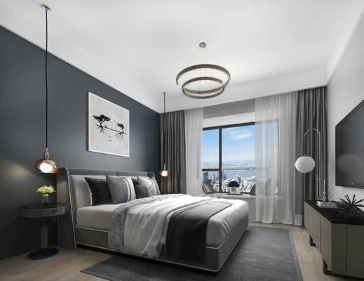 现代卧室, 壁画, 双人床, 床头柜, 电视柜, 吊灯, 现代