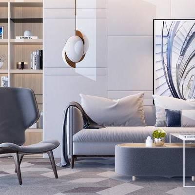 沙发组合, 吊灯, 椅子, 茶几, 置物柜, 壁画, 现代