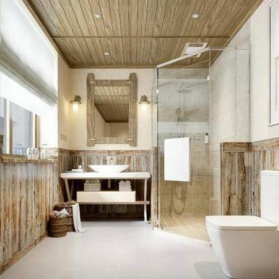 卫浴间, 洗手台, 淋浴间, 马桶, 镜子, 中式