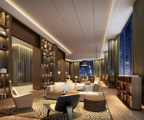 会客区, 多人沙发, 落地灯, 椅子, 置物柜, 茶几, 凳子, 现代