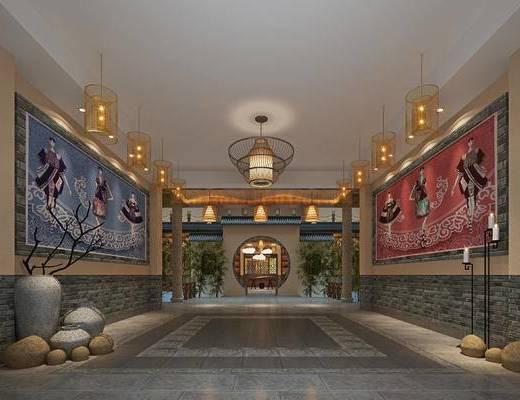 中式走廊, 吊灯, 壁画, 花瓶, 中式
