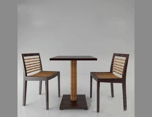 现代, 桌椅, 组合, 边几, 单椅