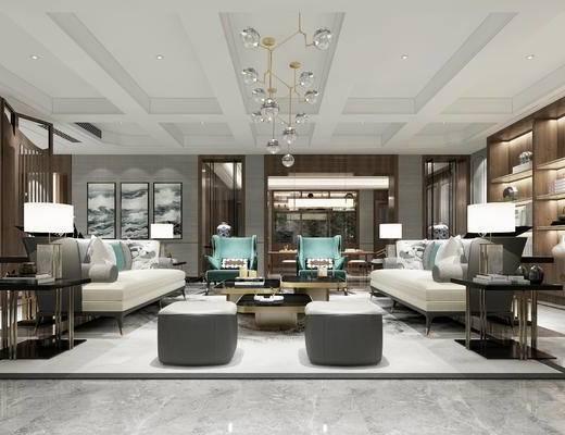 新中式客厅, 吊灯, 多人沙发, 边几, 台灯, 置物柜, 茶几, 沙发凳, 椅子, 新中式