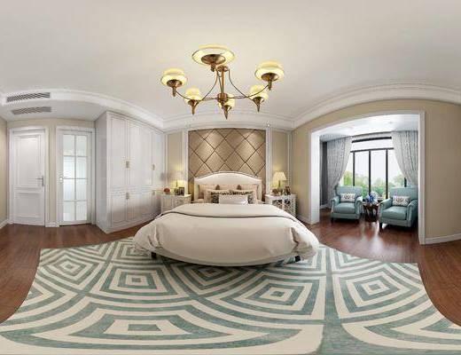 简美卧室, 双人床, 吊灯, 床头柜, 台灯, 衣柜, 单人沙发椅, 电视柜, 花瓶, 相框, 地毯, 美式简约