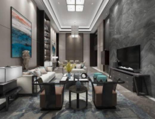 中式客厅餐厅, 沙发茶几组合, 壁画, 储物柜, 吊灯, 电视柜, 地毯, 中式