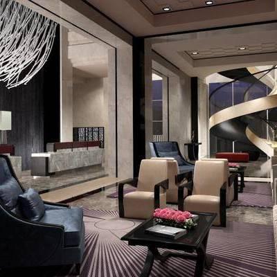 酒店大堂, 多人沙发, 边几, 台灯, 椅子, 楼梯, 地毯, 现代