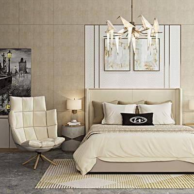 床具组合, 双人床, 床头柜, 台灯, 吊灯, 壁画, 边柜, 椅子, 地毯, 后现代