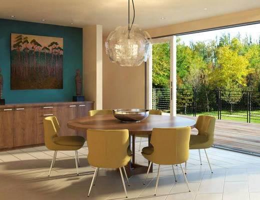 现代餐桌椅, 吊灯, 餐桌椅组合, 壁画, 边柜, 现代