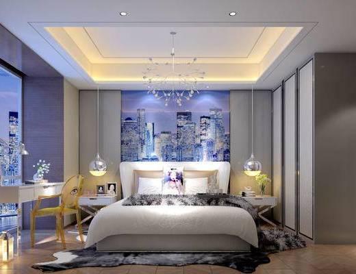 现代床具组合, 双人床, 壁画, 桌子, 椅子, 床头柜, 吊灯, 花瓶, 现代