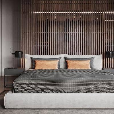 床具组合, 床头柜, 双人床, 壁画, 台灯, 现代