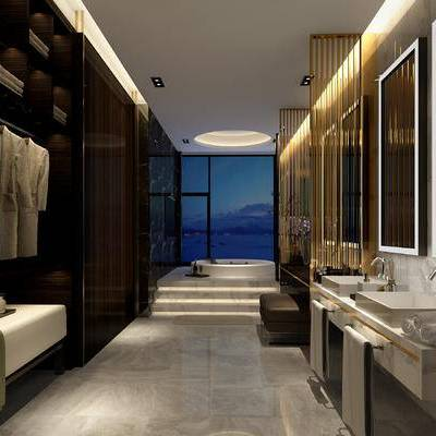卫浴间, 洗手台, 浴缸, 镜子, 现代