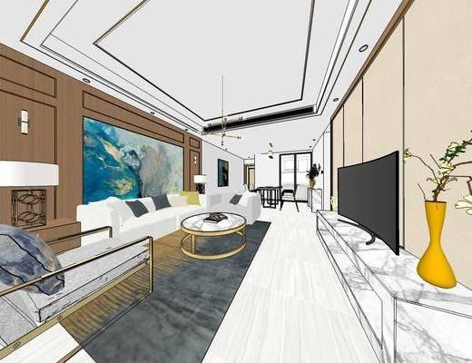 现代家装客厅餐厅, 家装全套, 客厅餐厅