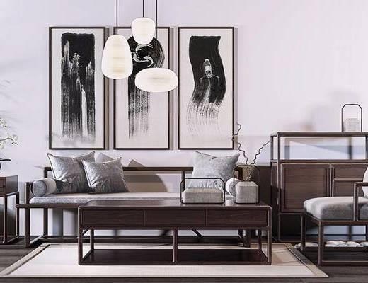 中式, 实木沙发, 沙发茶几组合, 吊灯, 装饰画