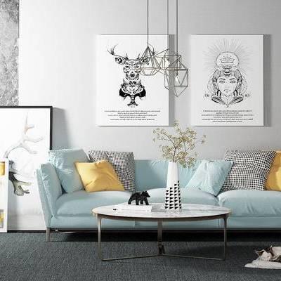 沙发组合, 茶几, 壁画, 花瓶, 吊灯, 北欧