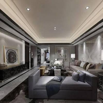 现代客厅, 多人沙发, 台灯, 边几, 壁画, 置物柜, 椅子, 凳子, 沙发躺椅, 现代