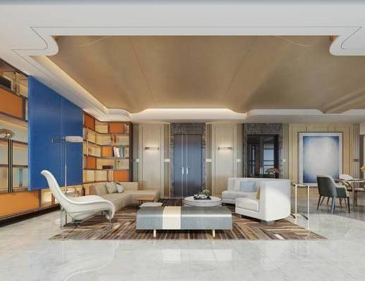 后现代客厅, 壁画, 多人沙发, 茶几, 沙发躺椅, 椅子, 置物柜, 桌子, 后现代
