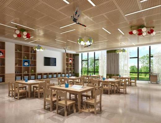 幼儿园, 教室, 置物柜, 摆件, 桌子, 椅子, 吊灯, 现代