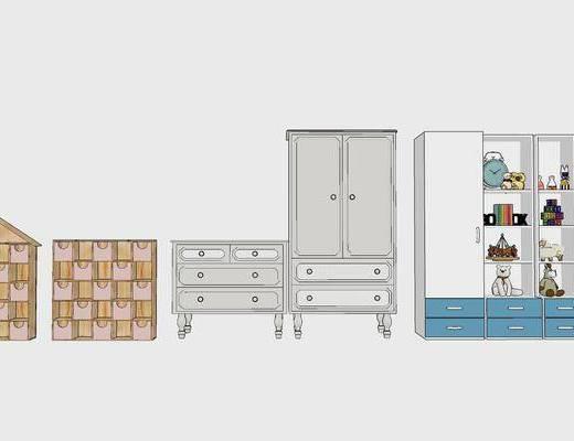 现代, 北欧, 置物架, 装饰柜架, 柜架组合