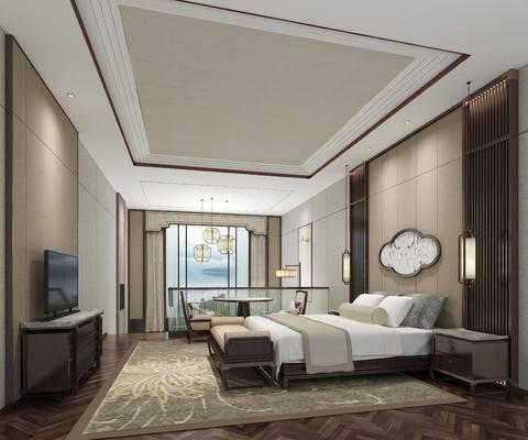 中式卧室, 电视柜, 双人床, 床头柜, 床尾塌, 吊灯, 桌子, 椅子, 中式
