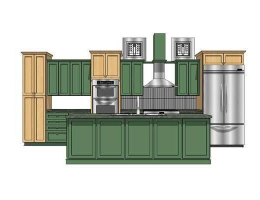 橱柜, 厨柜, 厨房, 现代, 田园