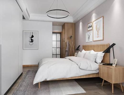 现代卧室, 双人床, 床头柜, 台灯, 壁画, 吊灯, 现代
