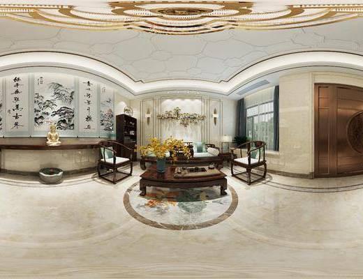 新中式茶室, 壁画, 新中式沙发, 椅子, 电视柜, 茶几, 壁灯, 新中式