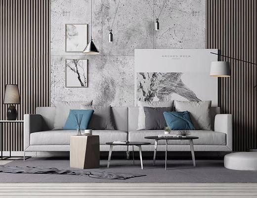 现代简约, 沙发茶几组合, 吊灯, 落地灯, 植物盆栽