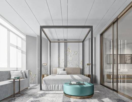 现代简约, 卧室, 床具组合, 沙发椅