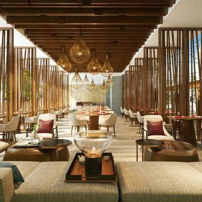 新中式, 餐厅, 桌椅组合, 吊灯, 陈设品组合, 1000套空间酷赠送模型