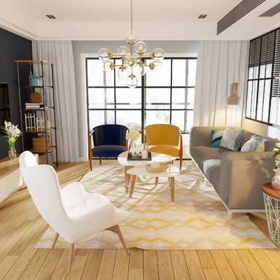 现代客厅, 吊灯, 多人沙发, 边几, 置物架, 椅子, 边柜, 现代