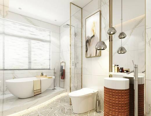 北欧简约, 浴室, 吊灯, 洗手台