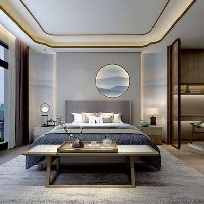 新中式卧室, 双人床, 床尾塌, 床头柜, 壁画, 边柜, 桌子, 椅子, 置物柜, 地毯, 新中式