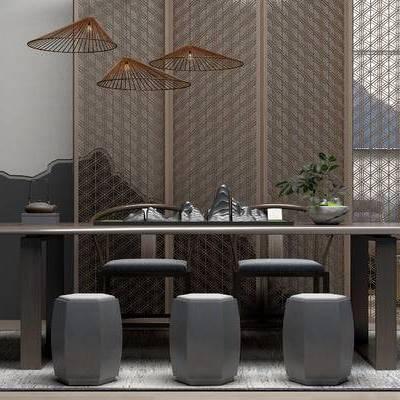 桌椅组合, 桌子, 椅子, 吊灯, 凳子, 屏风, 中式