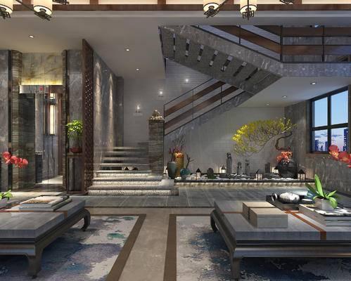 楼梯, 吊灯, 壁灯, 花瓶, 盆栽, 茶几, 中式