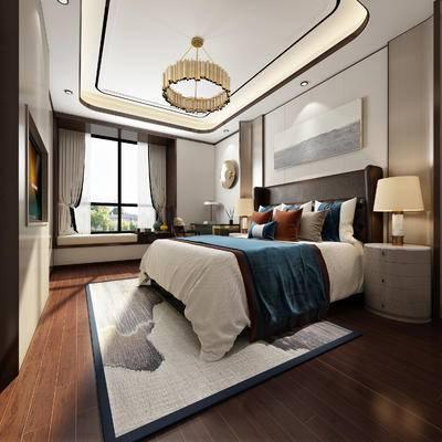 新中式卧室, 吊灯, 双人床, 床头柜, 台灯, 壁画, 地毯, 新中式