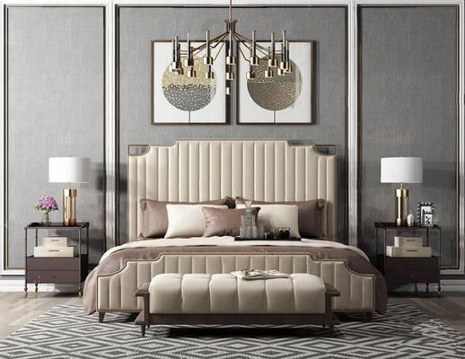后现代, 床具组合, 吊灯, 台灯, 脚踏