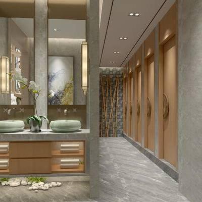 卫生间, 壁画, 洗手台, 壁灯, 镜子, 中式
