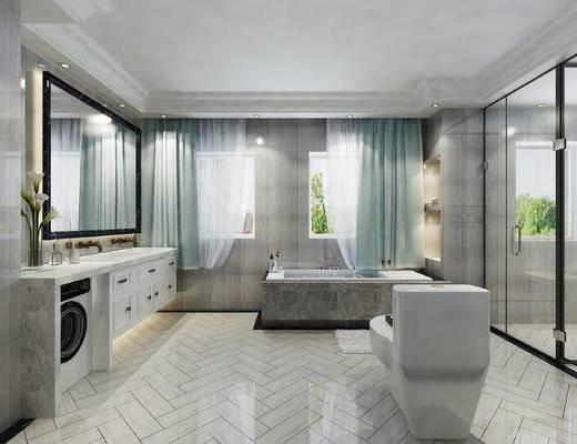 卫生间, 洗手台, 洗衣机, 浴缸, 窗帘, 镜子