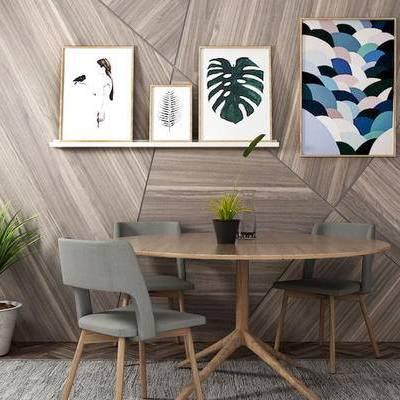 桌椅组合, 桌子, 椅子, 壁画, 盆栽, 北欧