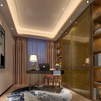 新中式书房, 桌子, 椅子, 台灯, 壁画, 置物柜, 地毯, 新中式